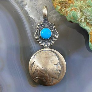 Sterling Turquoise w/Buffalo Nickel Coin Pendant